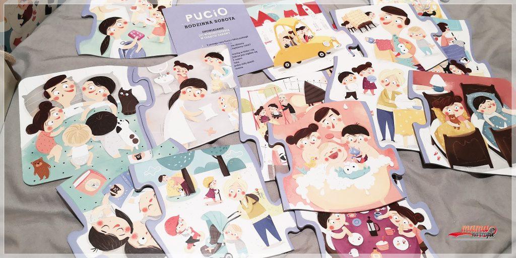 pucio rodzinna sobota, pucio, puzzle dla dzieci, nauka opowiadania, nauka w domu, praca z dzieckiem