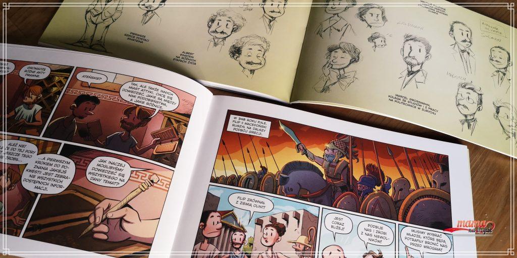 komiksy najwybitniejsi naukowcy, komiksy dla dzieci, Einstein, Arystoteles, głód wiedzy, przeskok kwantowy